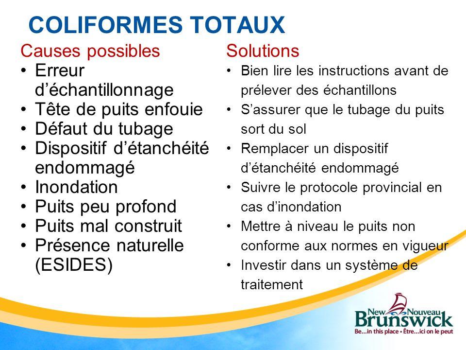 COLIFORMES TOTAUX Causes possibles Erreur déchantillonnage Tête de puits enfouie Défaut du tubage Dispositif détanchéité endommagé Inondation Puits pe