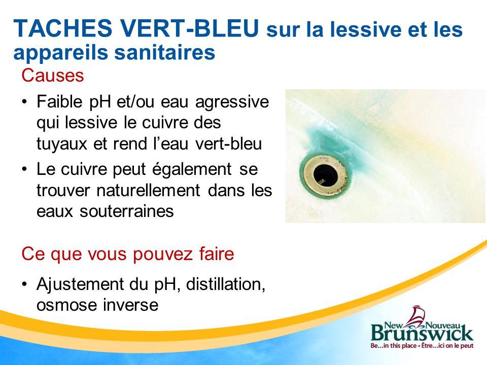 TACHES VERT-BLEU sur la lessive et les appareils sanitaires Causes Faible pH et/ou eau agressive qui lessive le cuivre des tuyaux et rend leau vert-bl