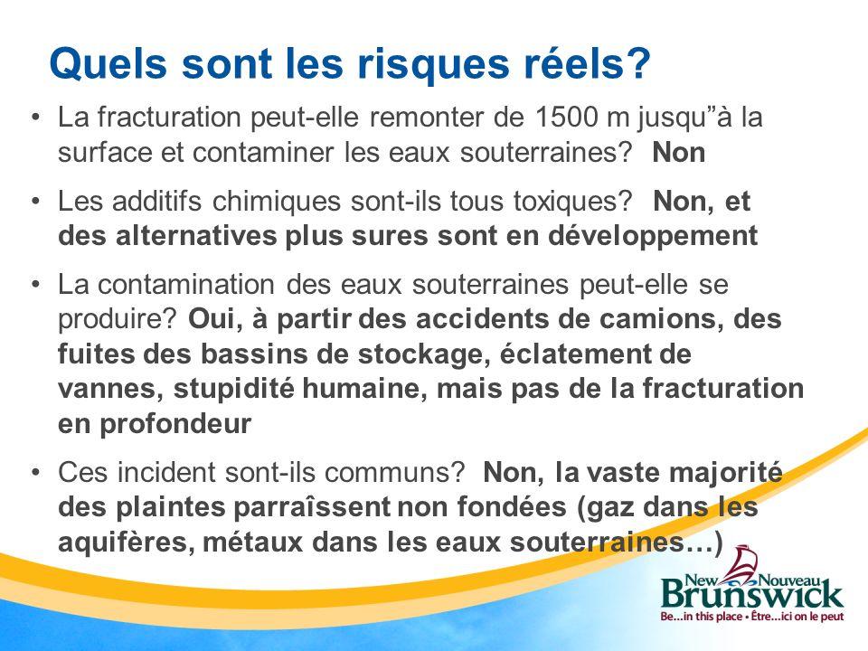 Quels sont les risques réels? La fracturation peut-elle remonter de 1500 m jusquà la surface et contaminer les eaux souterraines? Non Les additifs chi