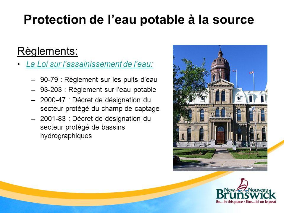 Protection de leau potable à la source Règlements: La Loi sur lassainissement de leau: –90-79 : Règlement sur les puits deau –93-203 : Règlement sur l