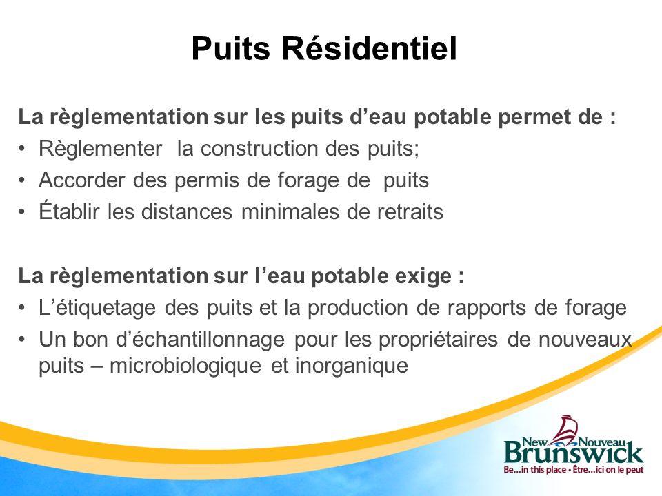 Puits Résidentiel La règlementation sur les puits deau potable permet de : Règlementer la construction des puits; Accorder des permis de forage de pui