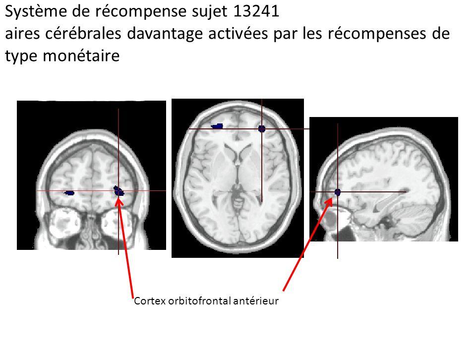 Système de récompense sujet 13241 aires cérébrales davantage activées par les récompenses de type monétaire Cortex orbito-frontal Cortex orbitofrontal