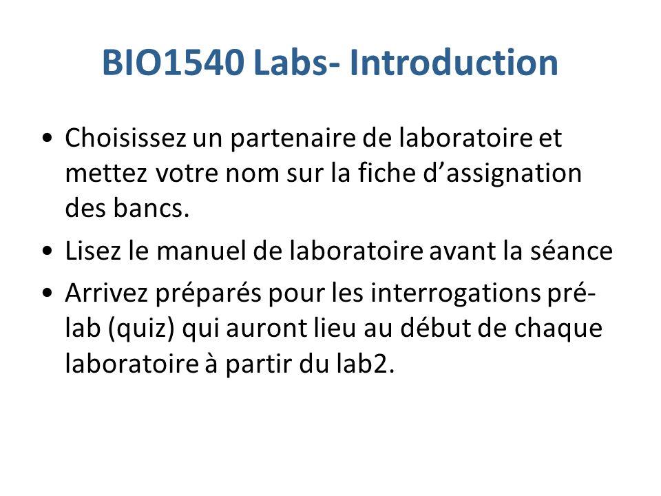 BIO1540 Labs- Introduction Choisissez un partenaire de laboratoire et mettez votre nom sur la fiche dassignation des bancs.