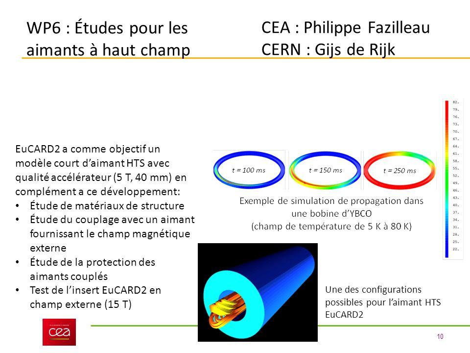 10 WP6 : Études pour les aimants à haut champ CEA : Philippe Fazilleau CERN : Gijs de Rijk EuCARD2 a comme objectif un modèle court daimant HTS avec qualité accélérateur (5 T, 40 mm) en complément a ce développement: Étude de matériaux de structure Étude du couplage avec un aimant fournissant le champ magnétique externe Étude de la protection des aimants couplés Test de linsert EuCARD2 en champ externe (15 T) Une des configurations possibles pour laimant HTS EuCARD2