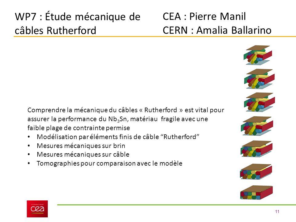 11 WP7 : Étude mécanique de câbles Rutherford CEA : Pierre Manil CERN : Amalia Ballarino Comprendre la mécanique du câbles « Rutherford » est vital pour assurer la performance du Nb 3 Sn, matériau fragile avec une faible plage de contrainte permise Modélisation par éléments finis de câble Rutherford Mesures mécaniques sur brin Mesures mécaniques sur câble Tomographies pour comparaison avec le modèle