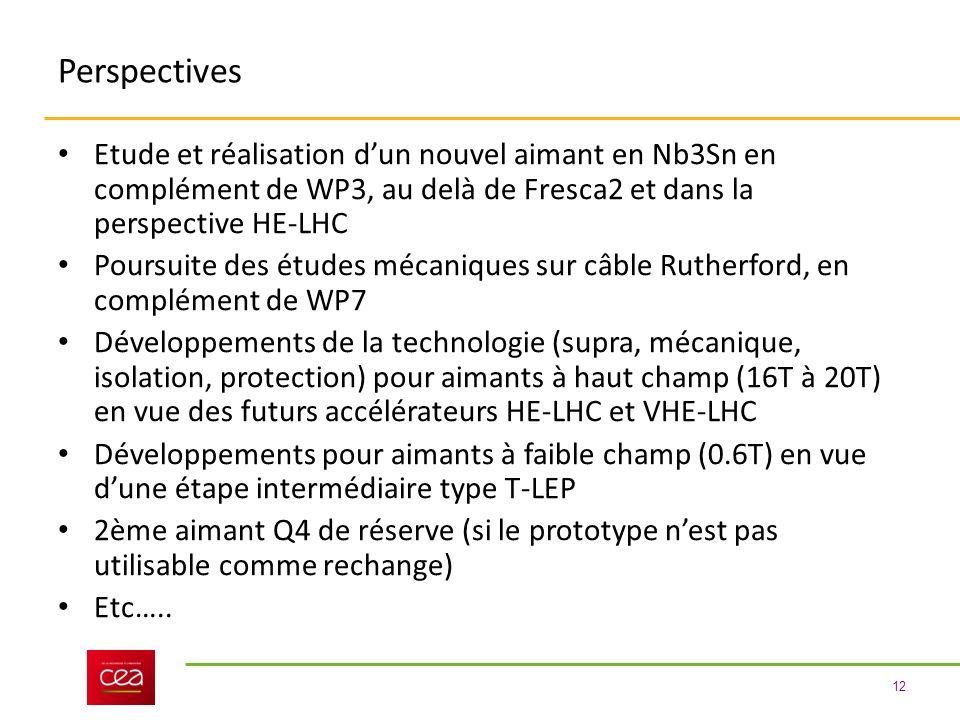 12 Perspectives Etude et réalisation dun nouvel aimant en Nb3Sn en complément de WP3, au delà de Fresca2 et dans la perspective HE-LHC Poursuite des études mécaniques sur câble Rutherford, en complément de WP7 Développements de la technologie (supra, mécanique, isolation, protection) pour aimants à haut champ (16T à 20T) en vue des futurs accélérateurs HE-LHC et VHE-LHC Développements pour aimants à faible champ (0.6T) en vue dune étape intermédiaire type T-LEP 2ème aimant Q4 de réserve (si le prototype nest pas utilisable comme rechange) Etc…..