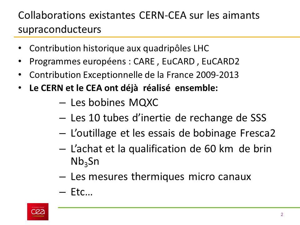 2 Collaborations existantes CERN-CEA sur les aimants supraconducteurs Contribution historique aux quadripôles LHC Programmes européens : CARE, EuCARD, EuCARD2 Contribution Exceptionnelle de la France 2009-2013 Le CERN et le CEA ont déjà réalisé ensemble: – Les bobines MQXC – Les 10 tubes dinertie de rechange de SSS – Loutillage et les essais de bobinage Fresca2 – Lachat et la qualification de 60 km de brin Nb 3 Sn – Les mesures thermiques micro canaux – Etc…