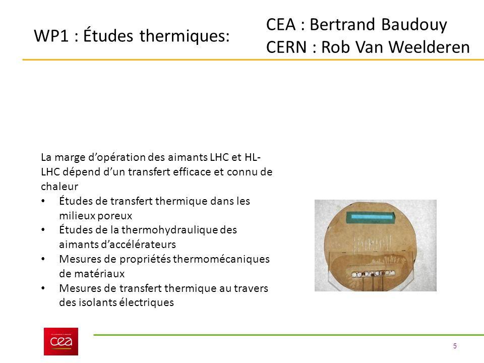5 WP1 : Études thermiques: CEA : Bertrand Baudouy CERN : Rob Van Weelderen La marge dopération des aimants LHC et HL- LHC dépend dun transfert efficace et connu de chaleur Études de transfert thermique dans les milieux poreux Études de la thermohydraulique des aimants daccélérateurs Mesures de propriétés thermomécaniques de matériaux Mesures de transfert thermique au travers des isolants électriques