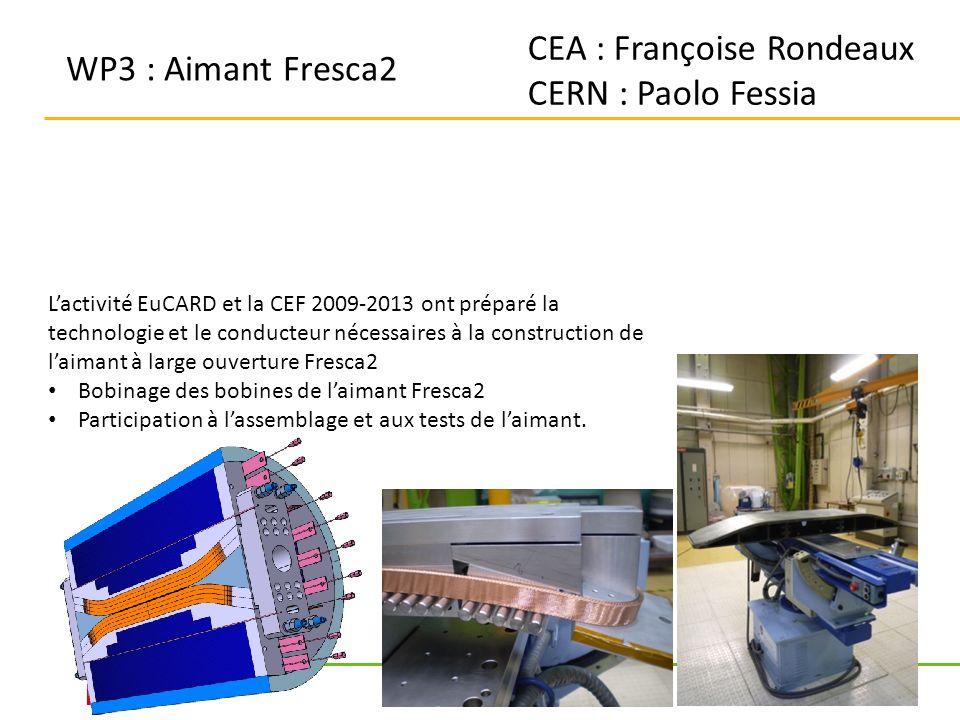 7 WP3 : Aimant Fresca2 CEA : Françoise Rondeaux CERN : Paolo Fessia Lactivité EuCARD et la CEF 2009-2013 ont préparé la technologie et le conducteur nécessaires à la construction de laimant à large ouverture Fresca2 Bobinage des bobines de laimant Fresca2 Participation à lassemblage et aux tests de laimant.