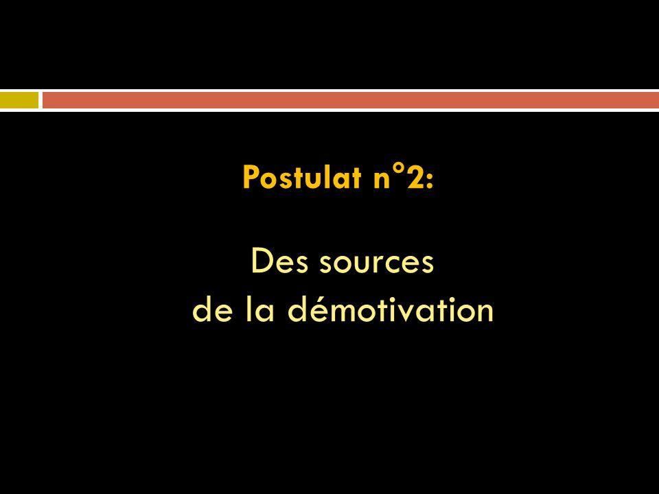 Postulat n°2: Des sources de la démotivation