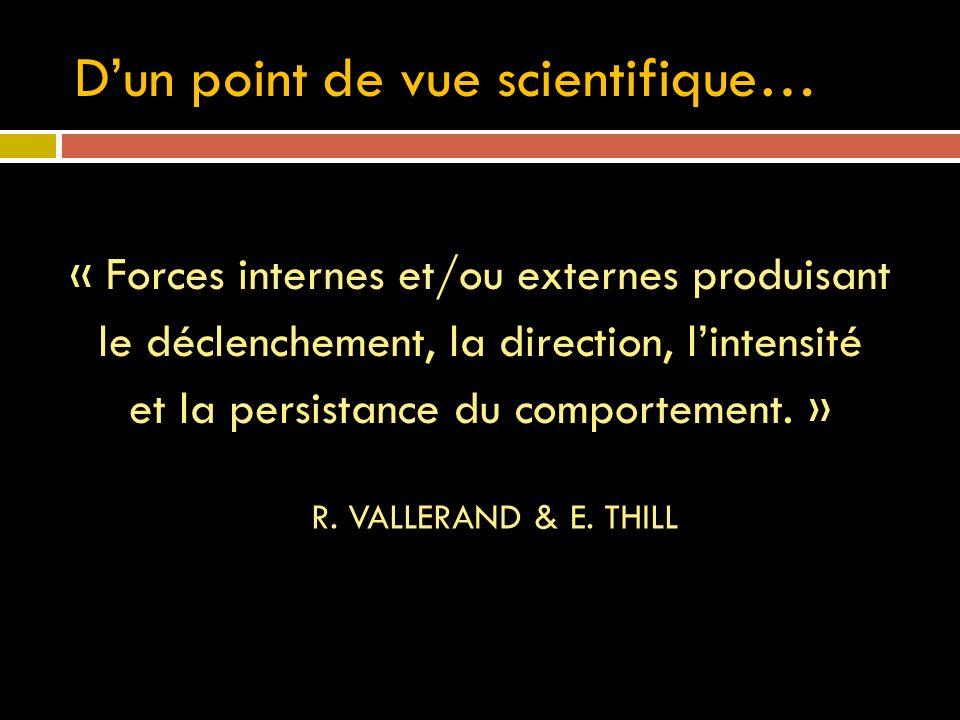 Dun point de vue scientifique… « Forces internes et/ou externes produisant le déclenchement, la direction, lintensité et la persistance du comportement.