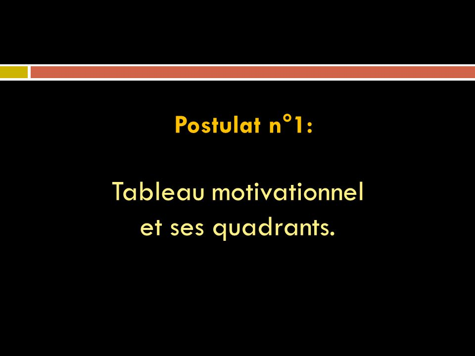 Postulat n°1: Tableau motivationnel et ses quadrants.