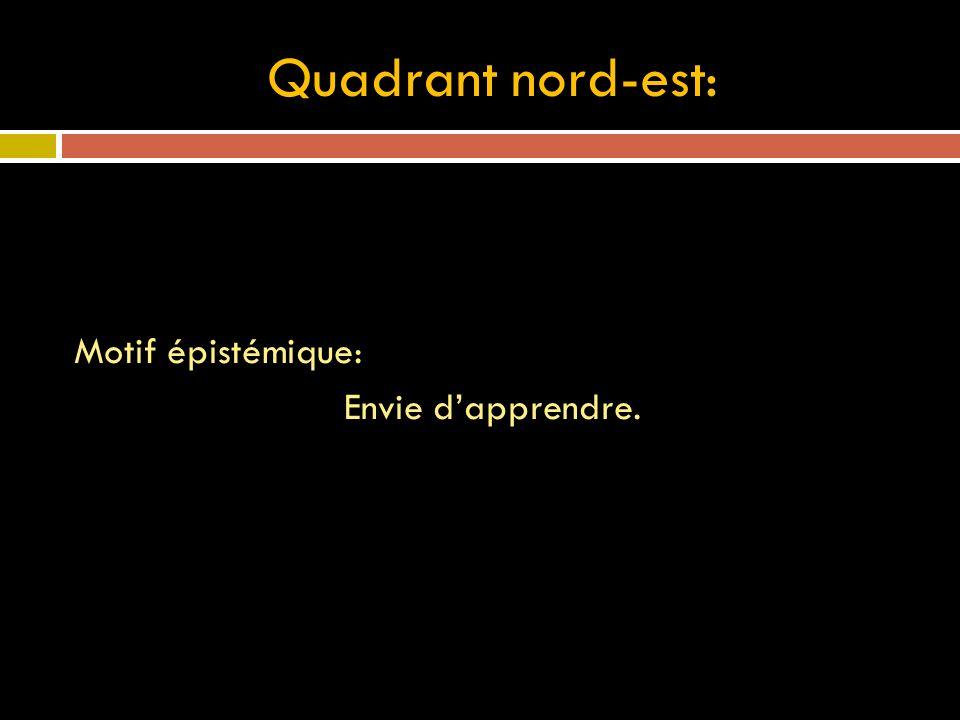 Quadrant nord-est: Motif épistémique: Envie dapprendre.