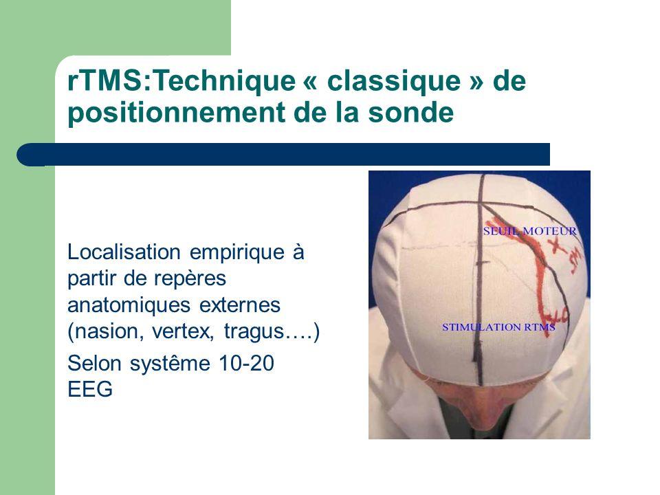 rTMS:Technique « classique » de positionnement de la sonde Localisation empirique à partir de repères anatomiques externes (nasion, vertex, tragus….)
