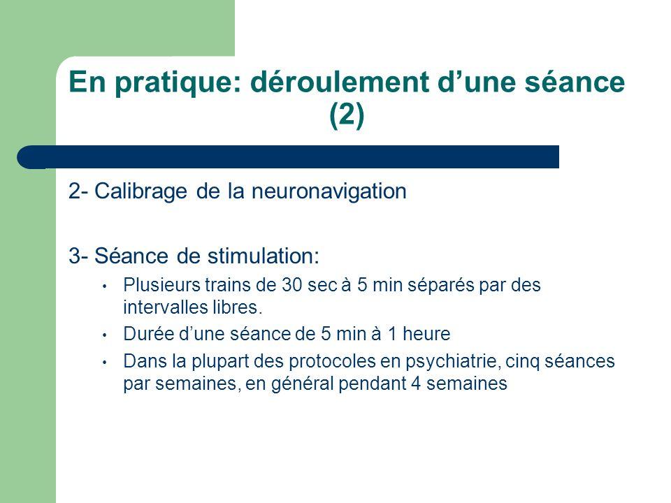 En pratique: déroulement dune séance (2) 2- Calibrage de la neuronavigation 3- Séance de stimulation: Plusieurs trains de 30 sec à 5 min séparés par d