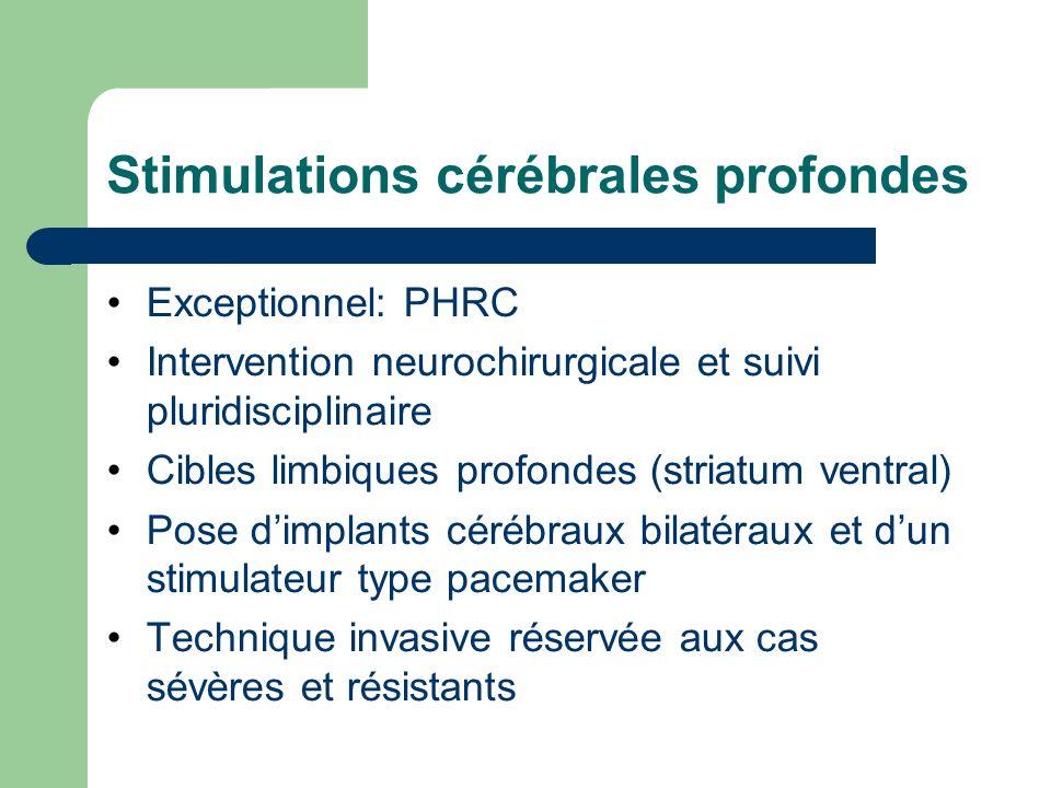 Stimulations cérébrales profondes Exceptionnel: PHRC Intervention neurochirurgicale et suivi pluridisciplinaire Cibles limbiques profondes (striatum v