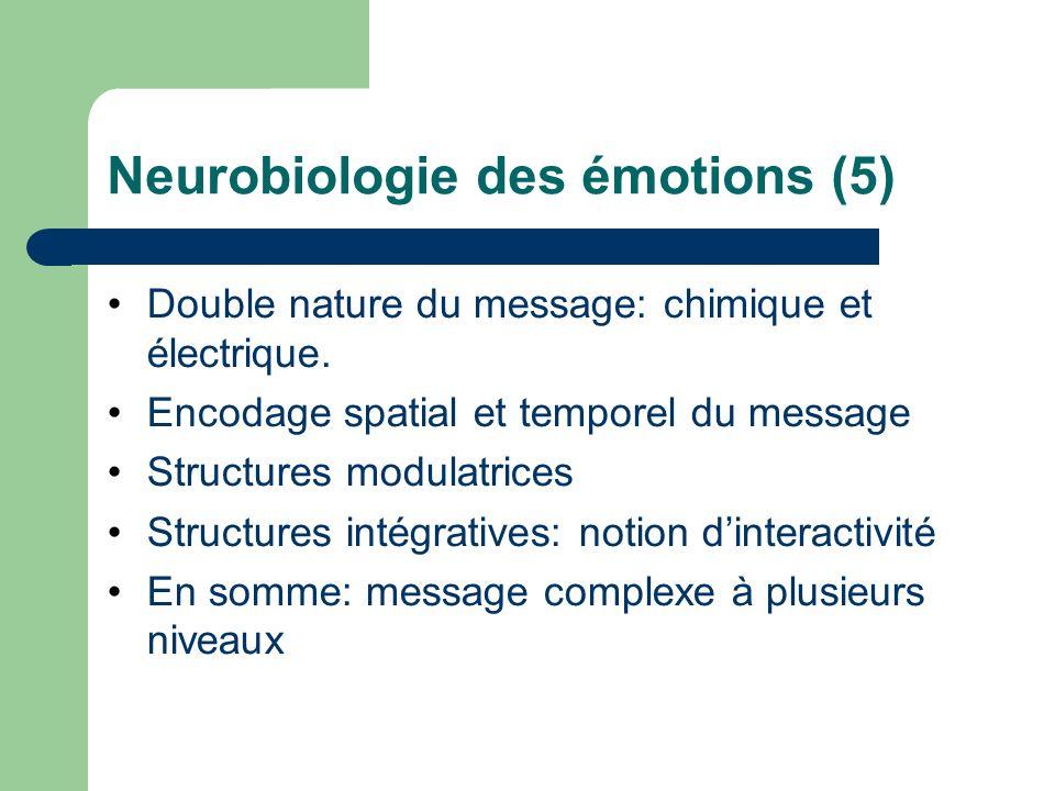 Neurobiologie des émotions (5) Double nature du message: chimique et électrique. Encodage spatial et temporel du message Structures modulatrices Struc
