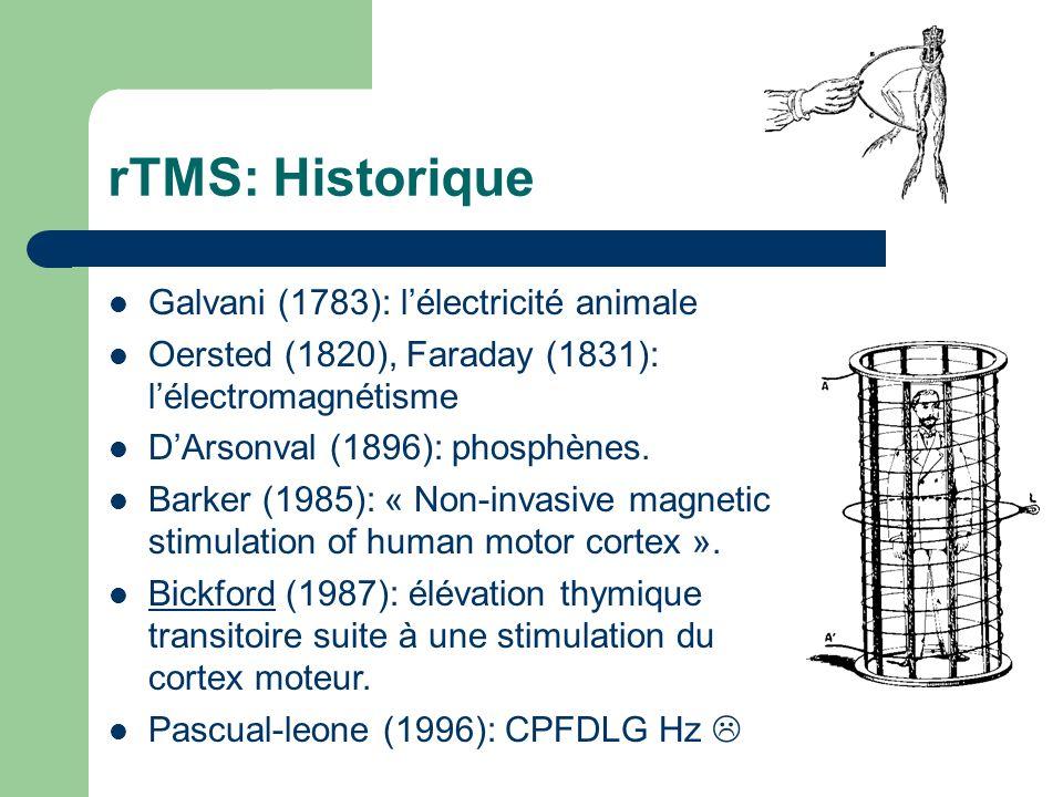 rTMS: Historique Galvani (1783): lélectricité animale Oersted (1820), Faraday (1831): lélectromagnétisme DArsonval (1896): phosphènes. Barker (1985):
