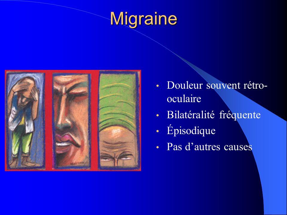 Migraine Douleur souvent rétro- oculaire Bilatéralité fréquente Épisodique Pas dautres causes