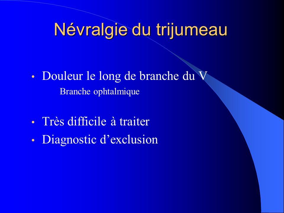 Névralgie du trijumeau Douleur le long de branche du V Branche ophtalmique Très difficile à traiter Diagnostic dexclusion