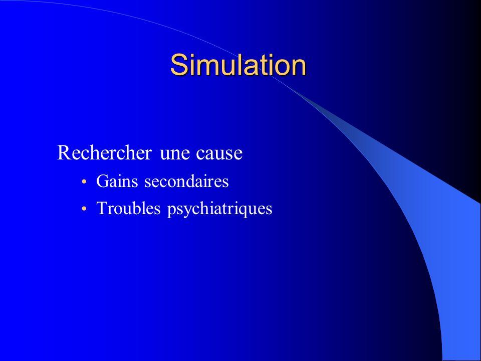 Simulation Rechercher une cause Gains secondaires Troubles psychiatriques