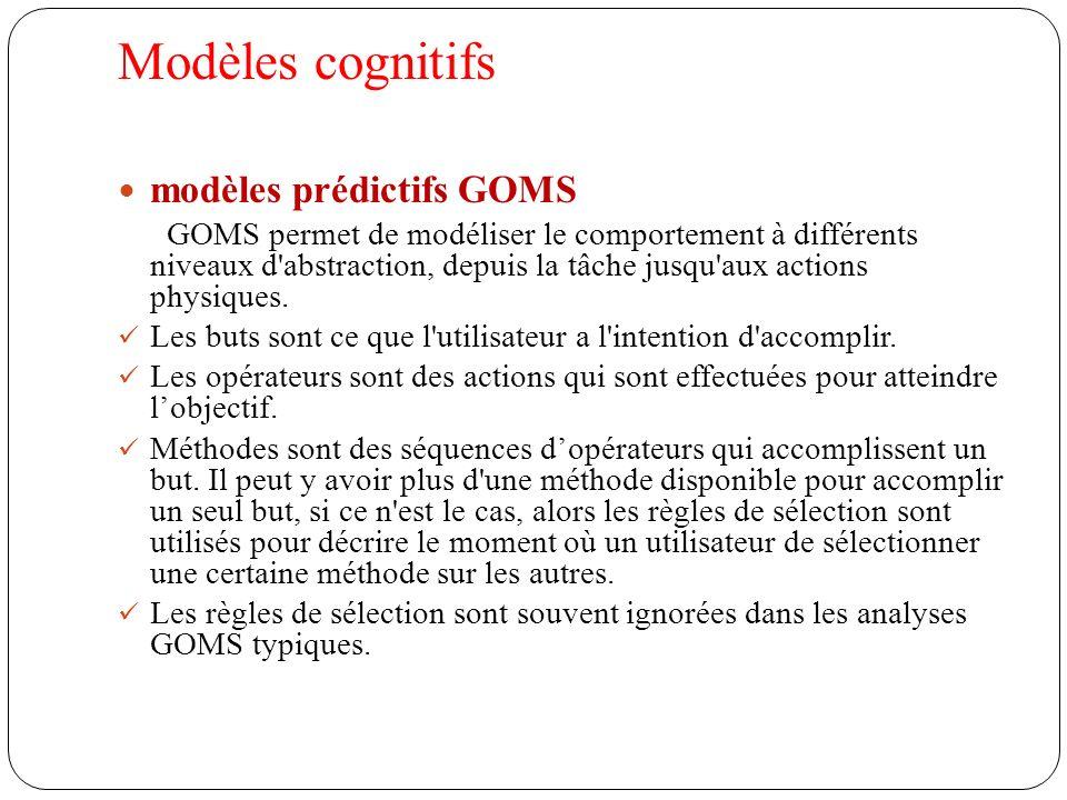 Modèles cognitifs modèles prédictifs GOMS GOMS permet de modéliser le comportement à différents niveaux d abstraction, depuis la tâche jusqu aux actions physiques.