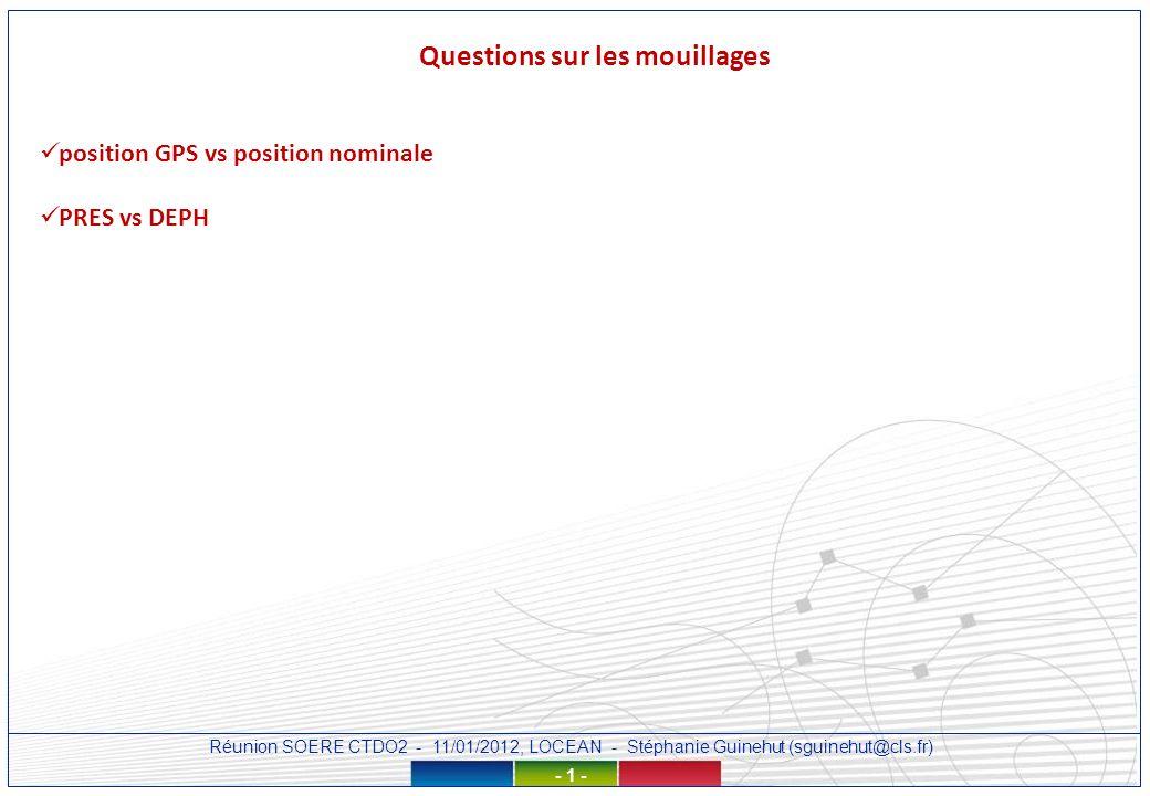Réunion SOERE CTDO2 - 11/01/2012, LOCEAN - Stéphanie Guinehut (sguinehut@cls.fr) - 1 - Questions sur les mouillages position GPS vs position nominale PRES vs DEPH
