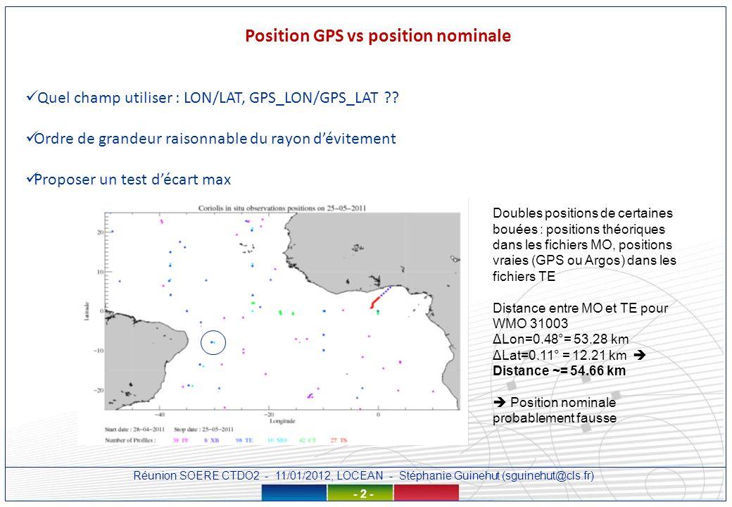 Réunion SOERE CTDO2 - 11/01/2012, LOCEAN - Stéphanie Guinehut (sguinehut@cls.fr) - 3 - Position GPS vs position nominale GL_LATEST_PR_MO_31003_20120103.nc data: TIME = 22647.5 ; TIME_QC = 1 ; LATITUDE = -8 ; LONGITUDE = -30 ; POSITION_QC = 1 ; DATA_MODE = R ; DIRECTION = U ; DEPH = 20, 40, 60, 80, 100, 120, 140, 300, 500 ; DEPH_QC = 1, 1, 1, 1, 1, 1, 1, 1, 1 ; TEMP = 27.13, 27.12, 27.11, 27.11, 26.87, 23.11, 20.25, 9.92, 7.67 ; TEMP_QC = 1, 1, 1, 1, 1, 1, 1, 1, 1 ; PSAL = 36.44, 36.441, _, _, _, 36.644, _, _, _ ; PSAL_QC 1, 1, _, _, _, 1, _, _, _ ; GL_LATEST_TS_MO_31003_20120103.nc data: TIME = 22647.5, 22647.5833333333, TIME_QC = 1, 1, 1, 1, 1, 1, 1, 1, 1, 1, 1, 1, 1, 1, 1 ; LATITUDE = -7.916, -7.916, -7.94, -7.921, -7.913, -7.915, -7.915, -7.914, -7.905, -7.905, -7.914, -7.914, -7.917, -7.906, -7.923 ; LONGITUDE = -30.513, -30.513, -30.519, -30.511, -30.516, -30.51, -30.51, -30.508, -30.508, -30.508, -30.509, -30.512, -30.507, -30.5, -30.513 ; POSITION_QC = 1, 1, 1, 1, 1, 1, 1, 1, 1, 1, 1, 1, 1, 1, 1 ; DEPH = 20, 40, 60, 80, 100, 120, 140, 300, 500, DEPH_QC = 1, 1, 1, 1, 1, 1, 1, 1, 1, TEMP = 27.13, 27.12, 27.11, 27.11, 26.87, 23.11, 20.25, 9.92, 7.67, TEMP_QC = 1, 1, 1, 1, 1, 1, 1, 2, 2, PSAL = 36.44, 36.44, _, _, _, 36.64, _, _, _, PSAL_QC = 1, 1, _, _, _, 4, _, _, _, +champs: WSPD:long_name = HORIZONTAL WIND SPEED ; RELH:long_name = relative humidity ; DRYT:long_name = DRY BULB TEMPERATURE ; WDIR:long_name = WIND DIRECTION REL.