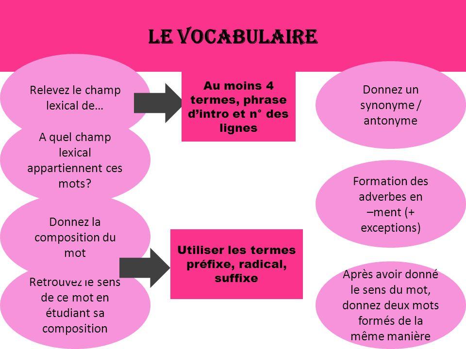 Le vocabulaire Relevez le champ lexical de… A quel champ lexical appartiennent ces mots.