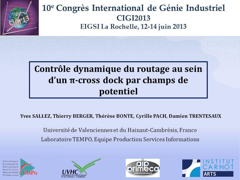 CIGI 2013 – La Rochelle 12 Ressource r Navette en cours de traitement File dattente de capacité Q r π-conteneur Vers la destination d Détail dun dock de chargement Zone tampon Respect de lordre de déchargement des π-conteneurs