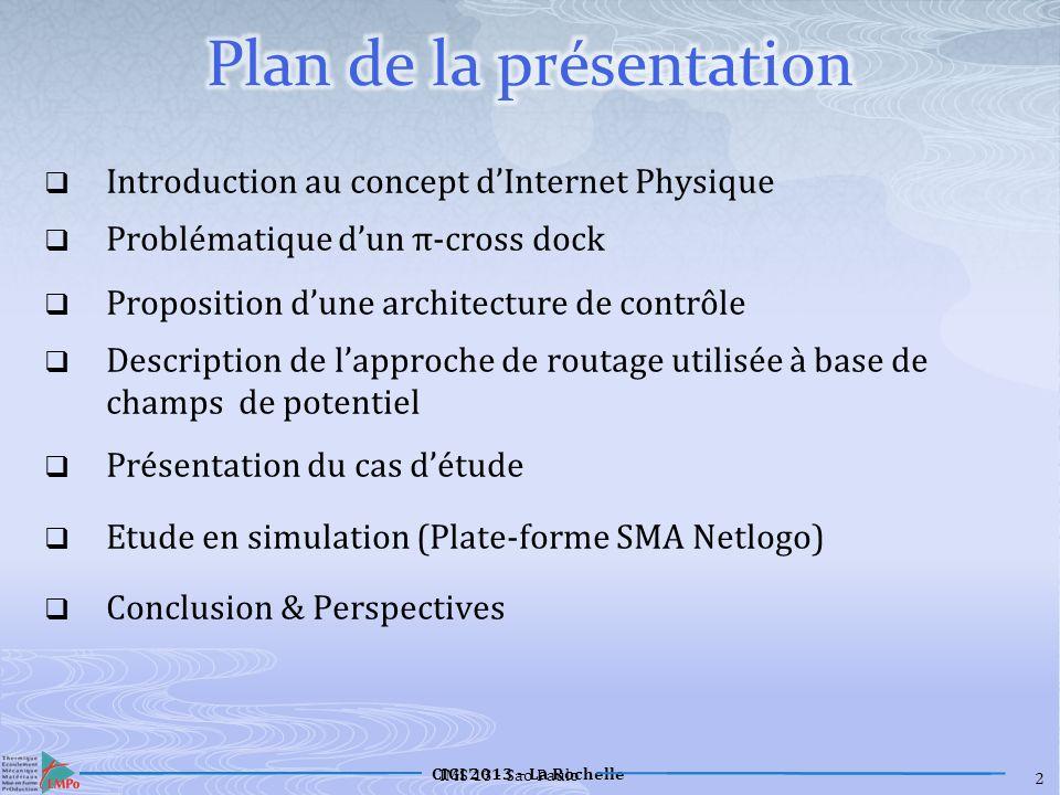 CIGI 2013 – La Rochelle 13 Navette simulée Etat des cargaisons Panne Ressource
