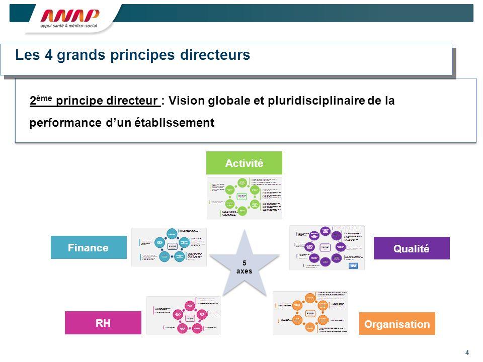 4 2 ème principe directeur : Vision globale et pluridisciplinaire de la performance dun établissement Activité Finance RH Organisation Qualité Les 4 grands principes directeurs 5 axes