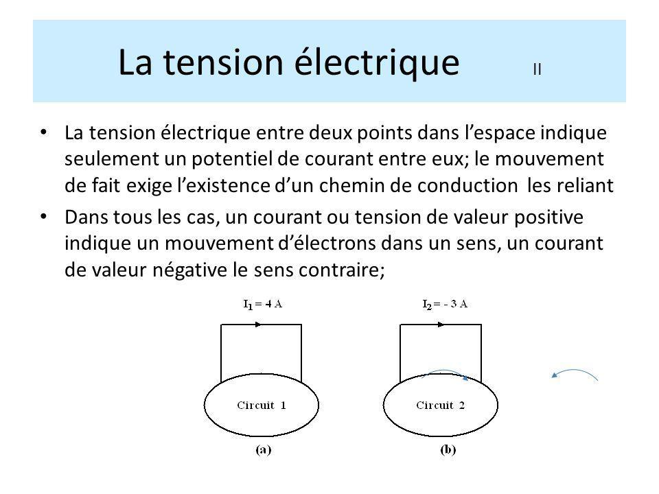 La tension électrique entre deux points dans lespace indique seulement un potentiel de courant entre eux; le mouvement de fait exige lexistence dun ch