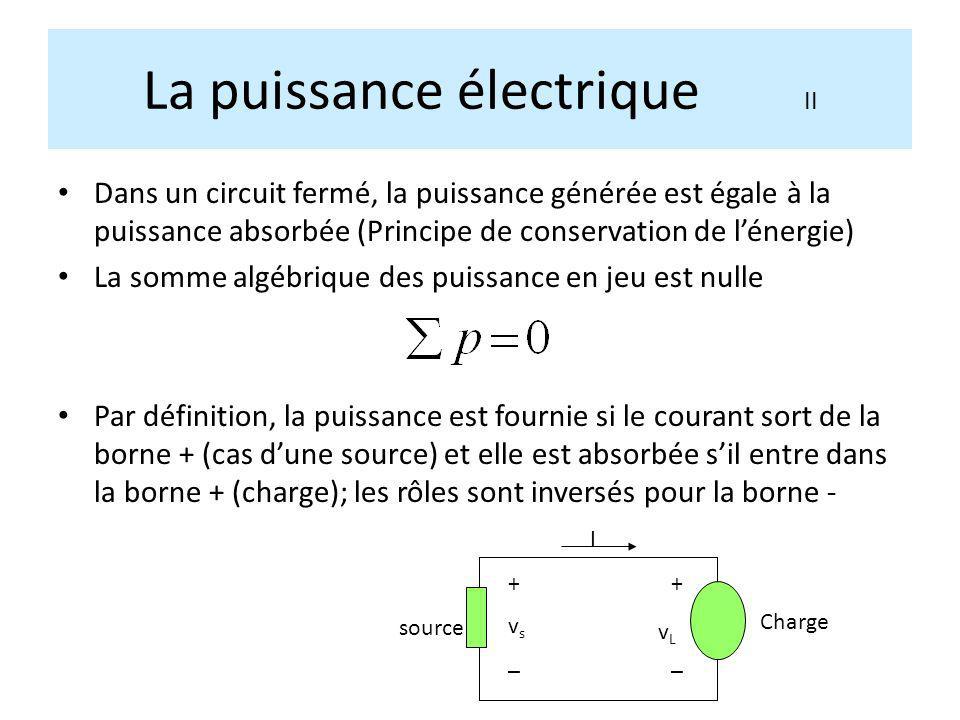 Dans un circuit fermé, la puissance générée est égale à la puissance absorbée (Principe de conservation de lénergie) La somme algébrique des puissance