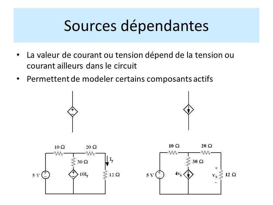 La valeur de courant ou tension dépend de la tension ou courant ailleurs dans le circuit Permettent de modeler certains composants actifs Sources dépe