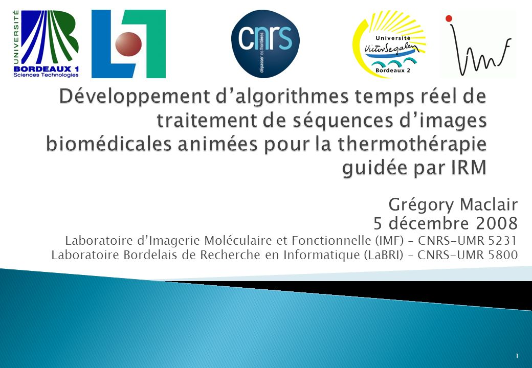 Grégory Maclair 5 décembre 2008 Laboratoire dImagerie Moléculaire et Fonctionnelle (IMF) – CNRS-UMR 5231 Laboratoire Bordelais de Recherche en Informatique (LaBRI) – CNRS-UMR 5800 1