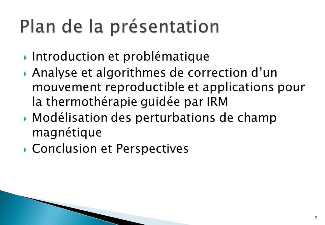Introduction et problématique Analyse et algorithmes de correction dun mouvement reproductible et applications pour la thermothérapie guidée par IRM Modélisation des perturbations de champ magnétique Conclusion et Perspectives 2