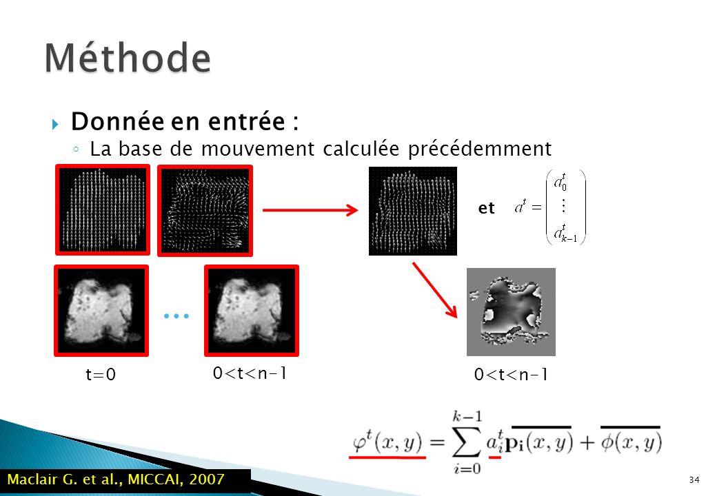 34 … t=0 Donnée en entrée : La base de mouvement calculée précédemment 0<t<n-1 et 0<t<n-1 Maclair G. et al., MICCAI, 2007
