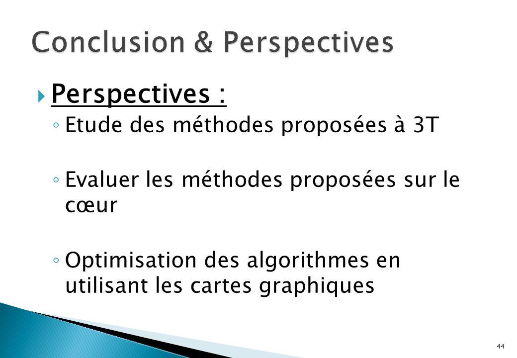 Perspectives : Etude des méthodes proposées à 3T Evaluer les méthodes proposées sur le cœur Optimisation des algorithmes en utilisant les cartes graphiques 44