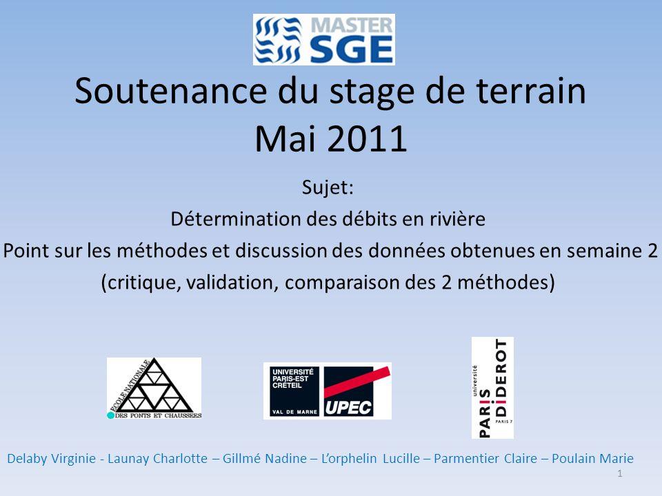 Soutenance du stage de terrain Mai 2011 Sujet: Détermination des débits en rivière Point sur les méthodes et discussion des données obtenues en semain