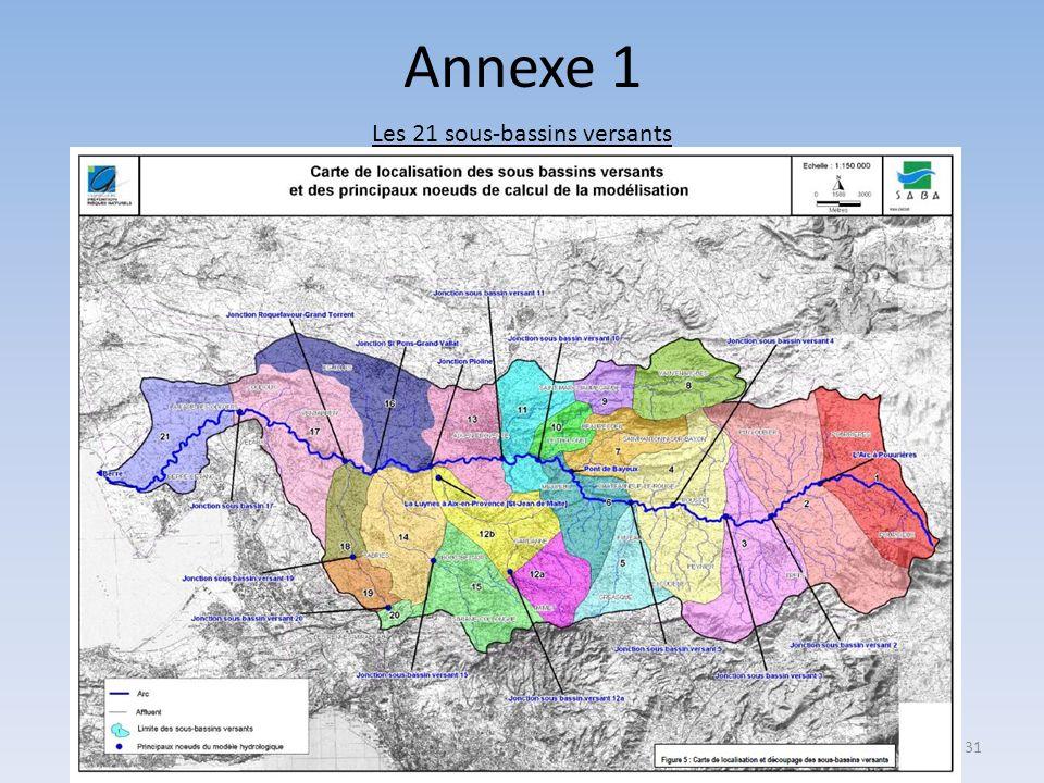 Annexe 1 Les 21 sous-bassins versants 31