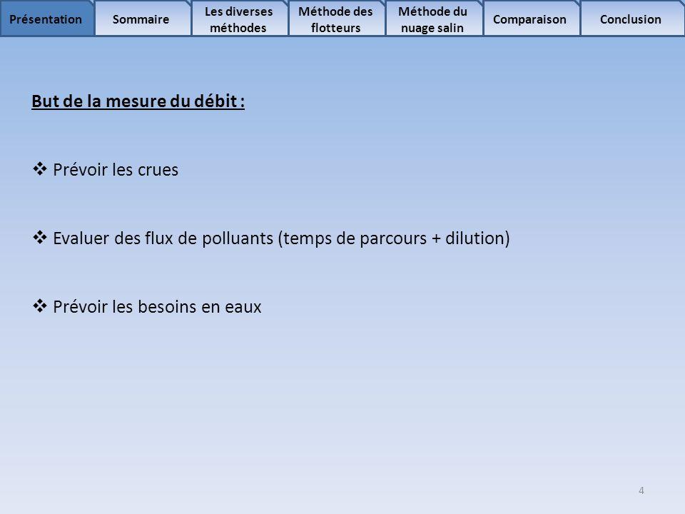 4 Sommaire Les diverses méthodes Méthode des flotteurs Comparaison Méthode du nuage salin ConclusionPrésentation But de la mesure du débit : Prévoir l