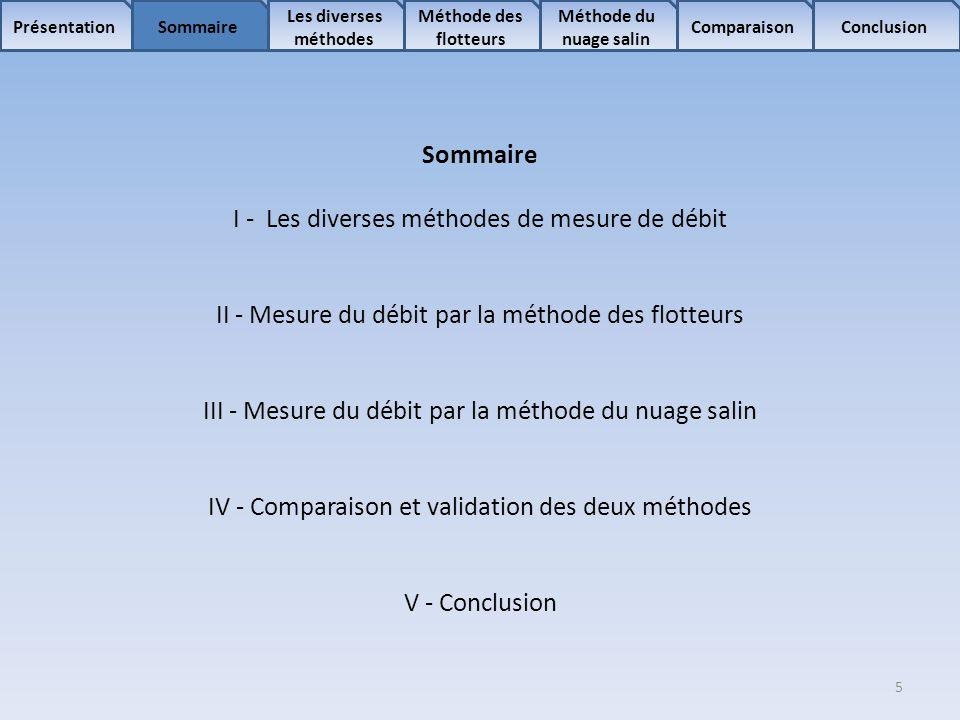 5 Sommaire Les diverses méthodes Méthode des flotteurs Comparaison Méthode du nuage salin ConclusionPrésentation Sommaire I - Les diverses méthodes de