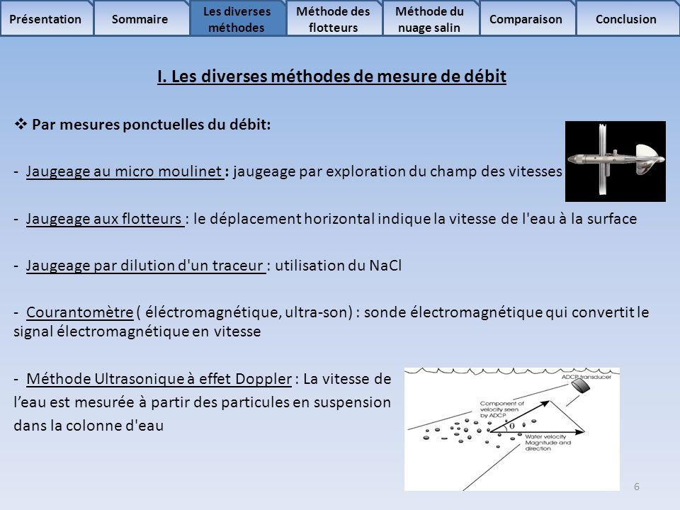 7 Sommaire Les diverses méthodes Méthode des flotteurs Comparaison Méthode du nuage salin ConclusionPrésentation I.