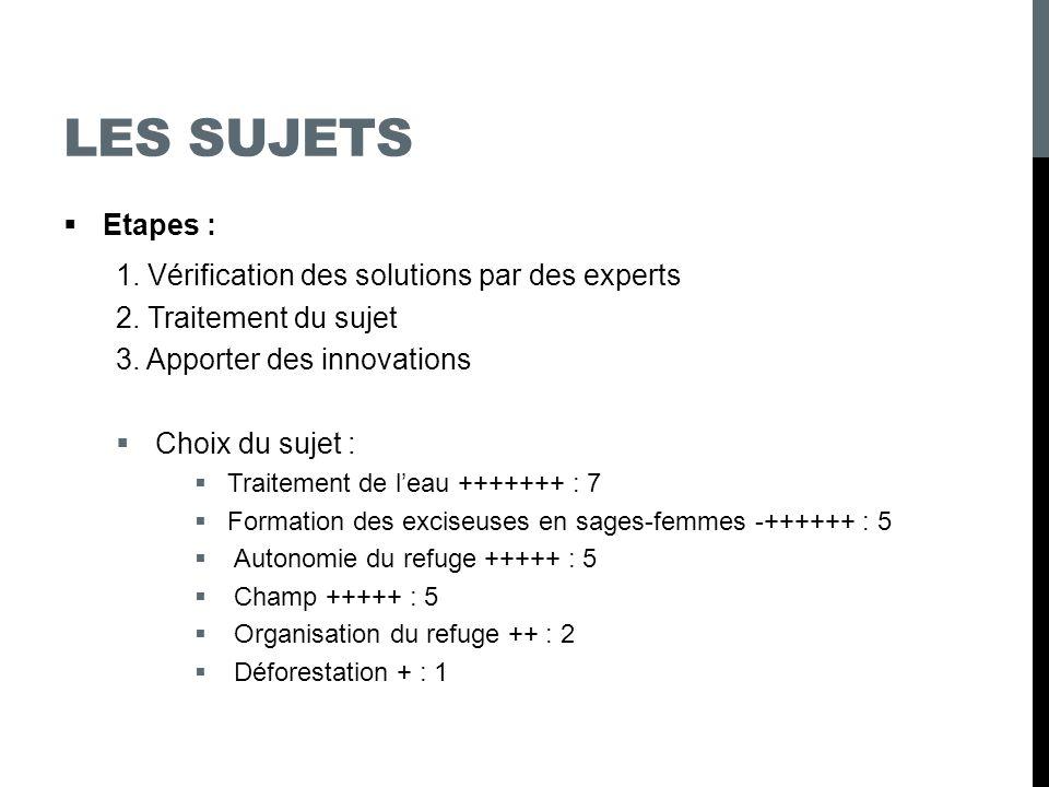 LES SUJETS Etapes : 1. Vérification des solutions par des experts 2. Traitement du sujet 3. Apporter des innovations Choix du sujet : Traitement de le