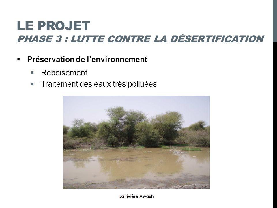 LE PROJET PHASE 3 : LUTTE CONTRE LA DÉSERTIFICATION Préservation de lenvironnement Reboisement Traitement des eaux très polluées