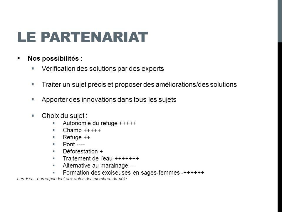 LES SUJETS Etapes : 1.Vérification des solutions par des experts 2.