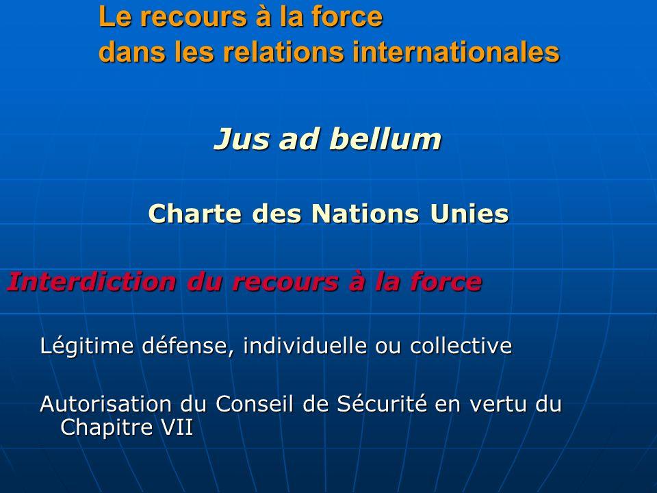 Le recours à la force dans les relations internationales Jus ad bellum Charte des Nations Unies Interdiction du recours à la force Légitime défense, i