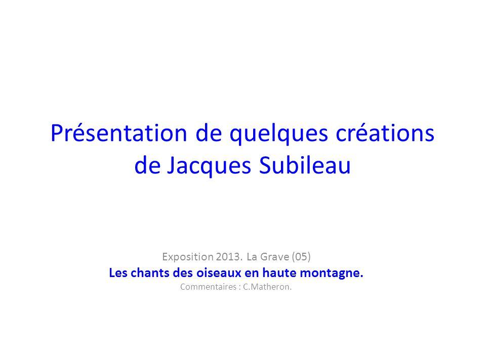 Présentation de quelques créations de Jacques Subileau Exposition 2013.
