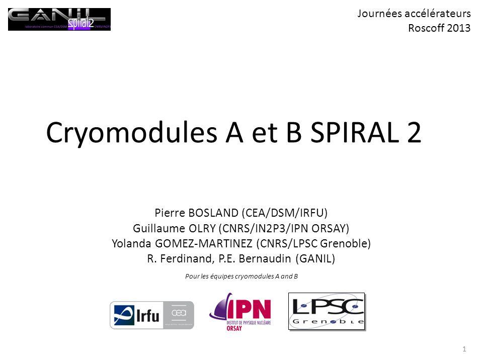 Cryomodules A et B SPIRAL 2 Pierre BOSLAND (CEA/DSM/IRFU) Guillaume OLRY (CNRS/IN2P3/IPN ORSAY) Yolanda GOMEZ-MARTINEZ (CNRS/LPSC Grenoble) R. Ferdina